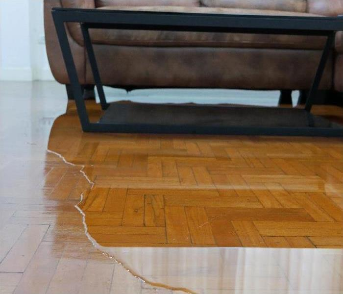 Close up of water flooding on living room parquet floor