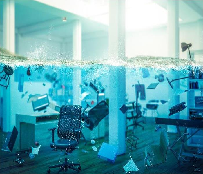 interior of an office completely flooded