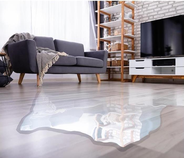 water pooling on living room floor; furniture in background